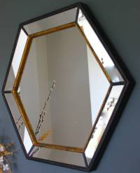 gold edged hexagonal vintage wall mirror by the forest ...