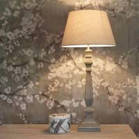 tall slim grey wash wooden table lamp with shade by ...