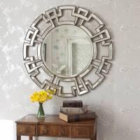 atticus champagne round decorative mirror by decorative ...