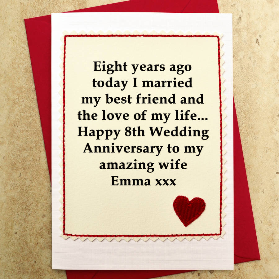personalised 8th wedding anniversary card by jenny arnott