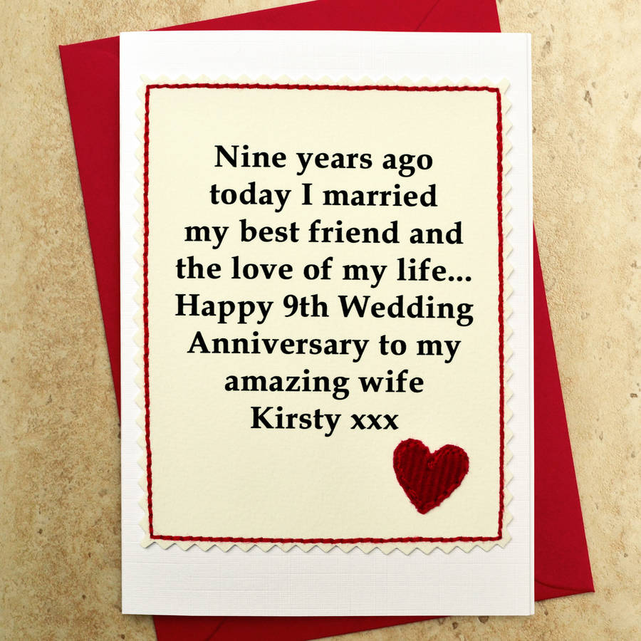 personalised 9th wedding anniversary card by jenny arnott cards  gifts  notonthehighstreetcom