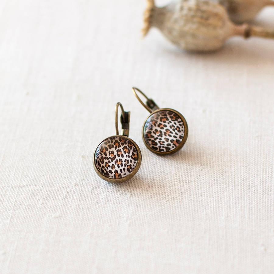 leopard print earrings by juju treasures