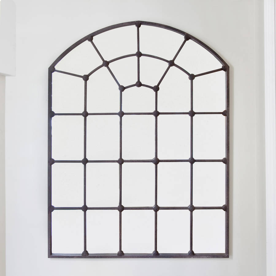 large metal framed window mirror by decorative mirrors