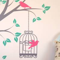 tree with bird cage wall stickers by parkins interiors ...