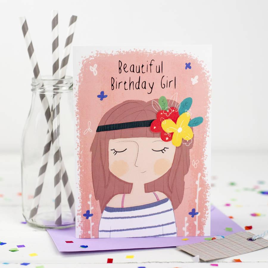 'beautiful birthday girl' card by louise wright design | notonthehighstreet.com
