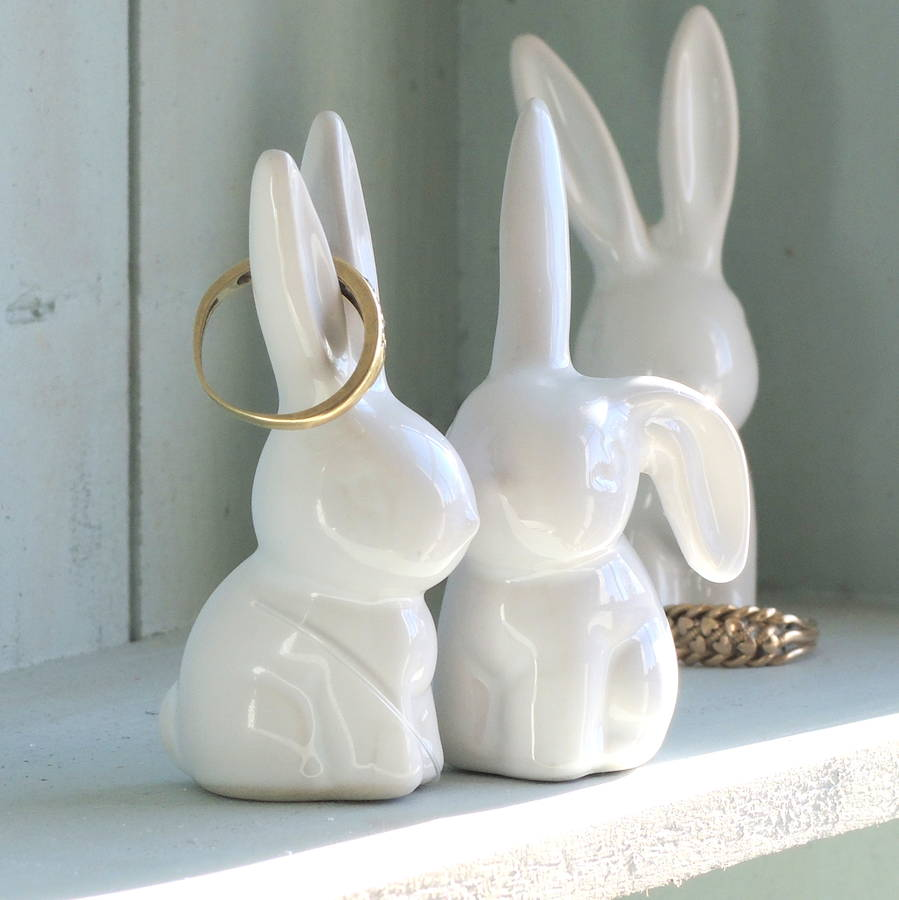 pair of bunny ring holders by the alphabet gift shop
