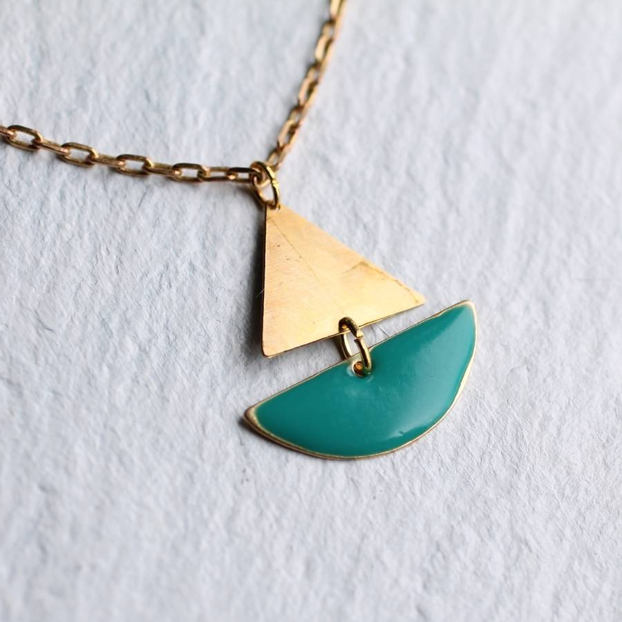 sailing boat necklace by silk purse sows ear