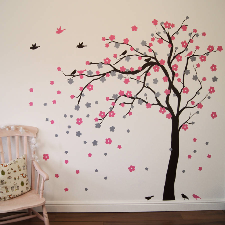 Bright Turquoise Wallpaper For Girls Room Floral Blossom Tree Wall Stickers By Parkins Interiors