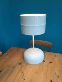 hand crafted table lamp made from recycled materials by