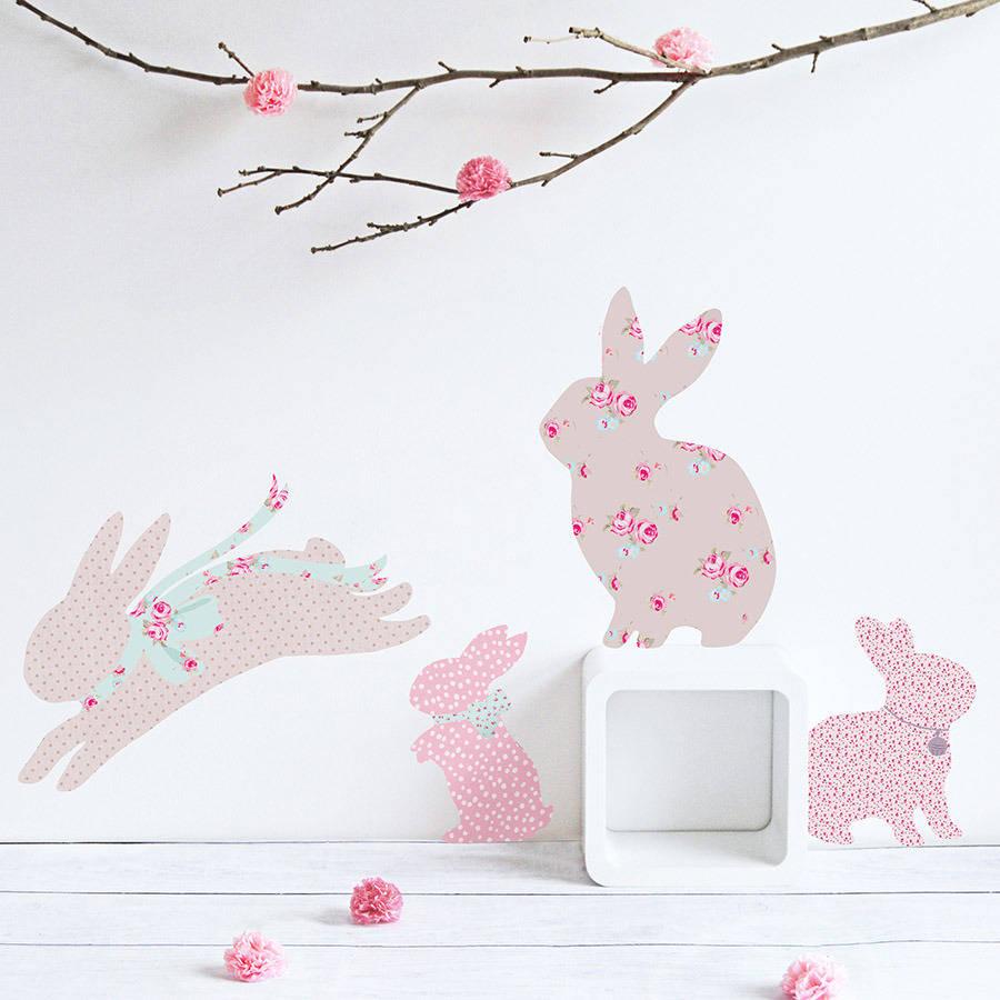 Girl Bedroom Wallpaper Border Vintage Floral Rabbit Wall Stickers By Koko Kids