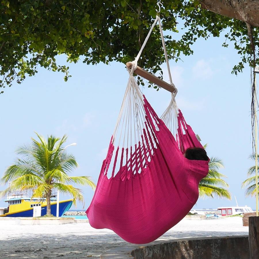 hanging chair notonthehighstreet buy covers edmonton knit fuschia cotton by emilyhannah ltd com