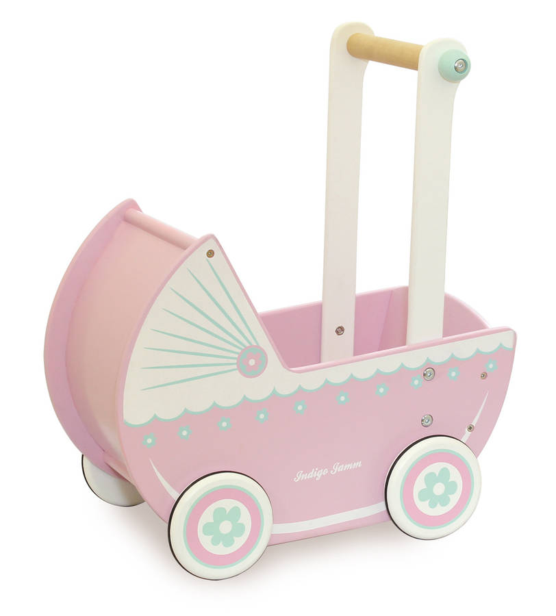 retro pink wooden role play dolls pram by jammtoys wooden