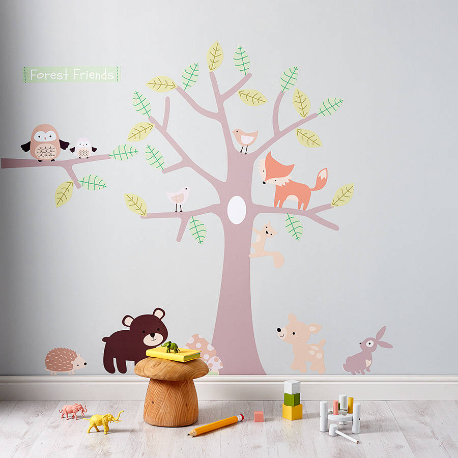 Baby Girl Nursery Flower Wallpaper Pastel Forest Friends Wall Stickers By Parkins Interiors