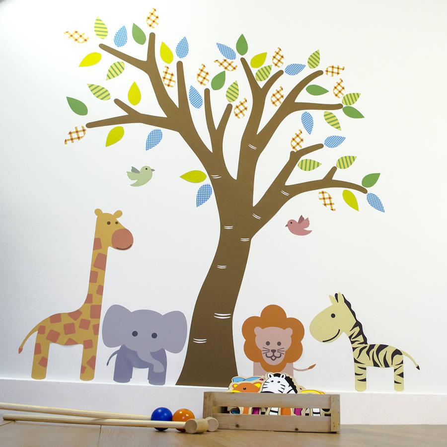 jungle tree fabric wall sticker by mirrorin