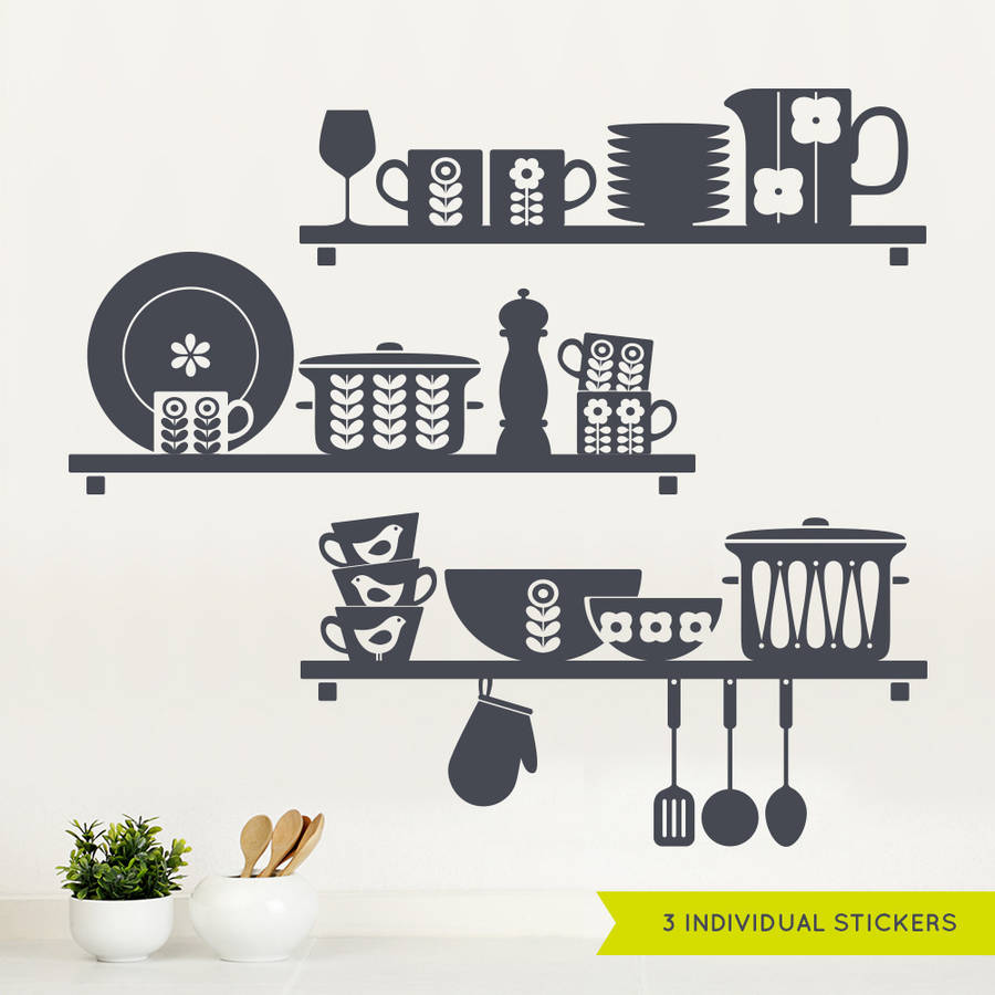 Nordic Kitchen Shelves Wall Sticker By Sirface Graphics