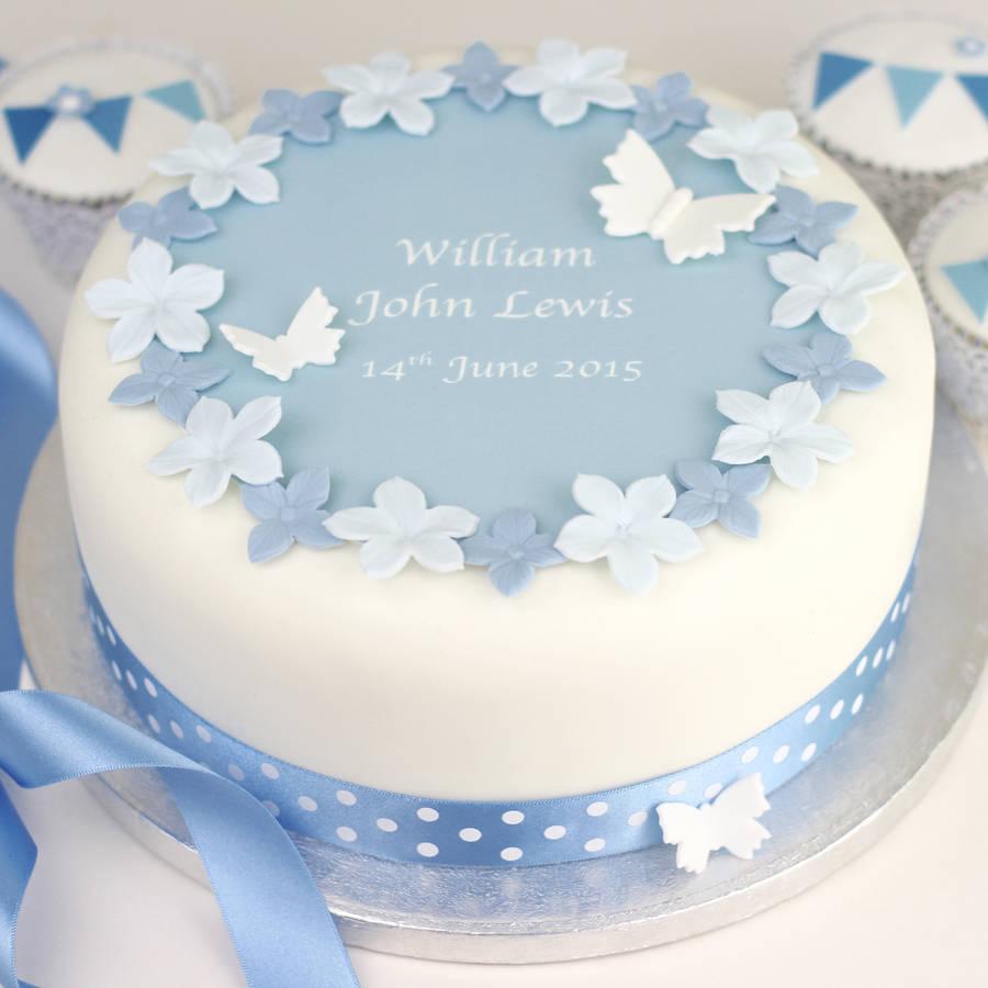 personalised boys christening cake
