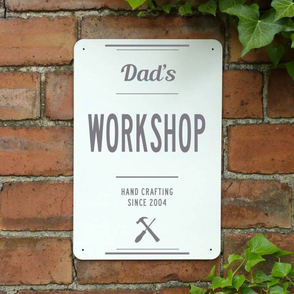 Personalised Dads Workshop Metal Sign Delightful Living
