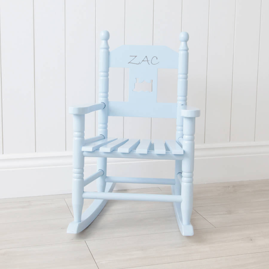 engraved rocking chair revolving hsn code personalised blue children's by my 1st years | notonthehighstreet.com