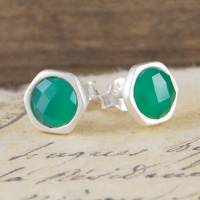 green onyx silver stud earrings by embers gemstone