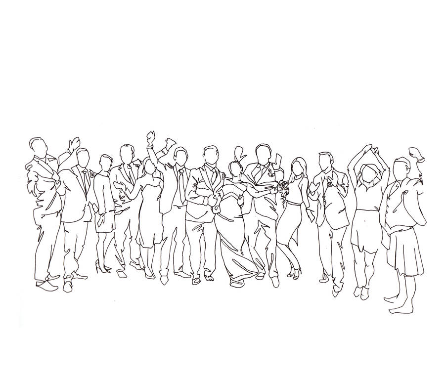 personalised wedding party drawing by love lines