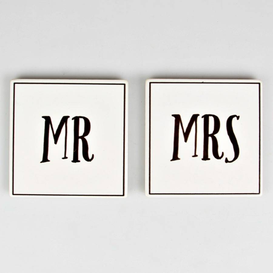 mr and mrs ceramic coasters with gift bag by posh totty designs interiors  notonthehighstreetcom