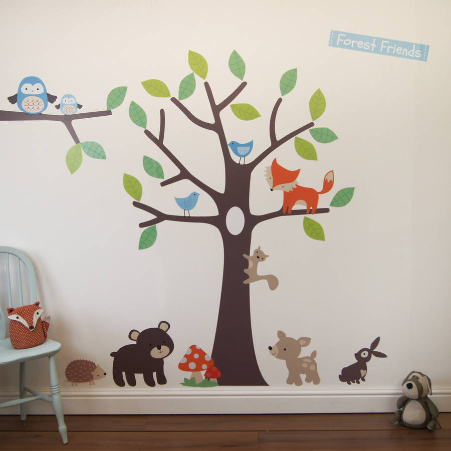 woodland tree wall stickers by parkins interiors  notonthehighstreetcom
