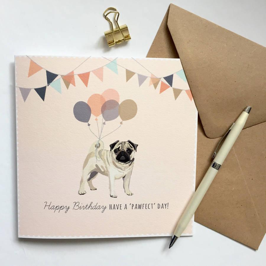 Pug Happy Birthday Card By Sirocco Design