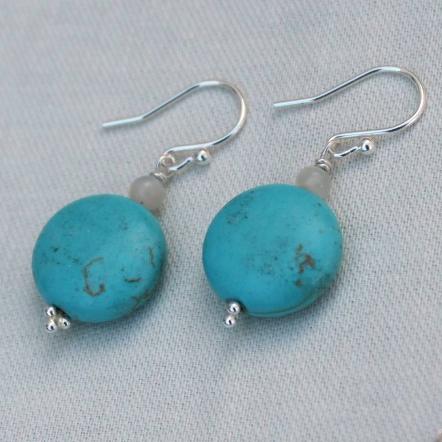 sterling silver and turquoise drop earrings by completely