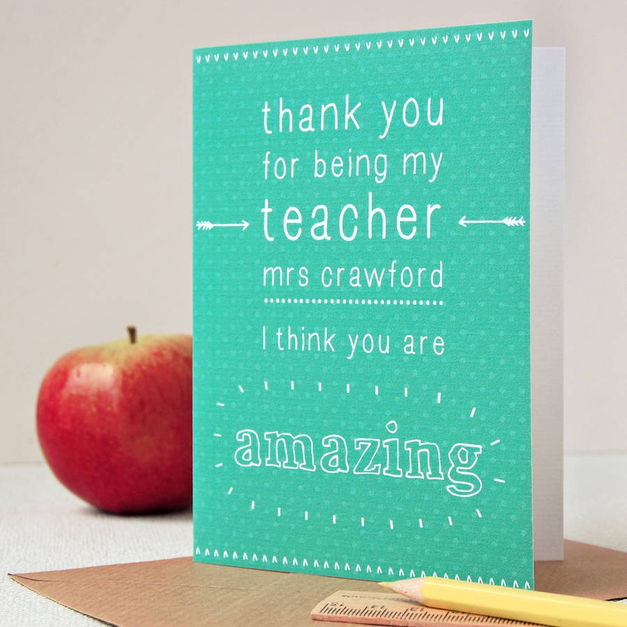 Personalised Amazing Teacher Card By Clara And Macy