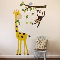 monkey branch and giraffe wall stickers by parkins ...