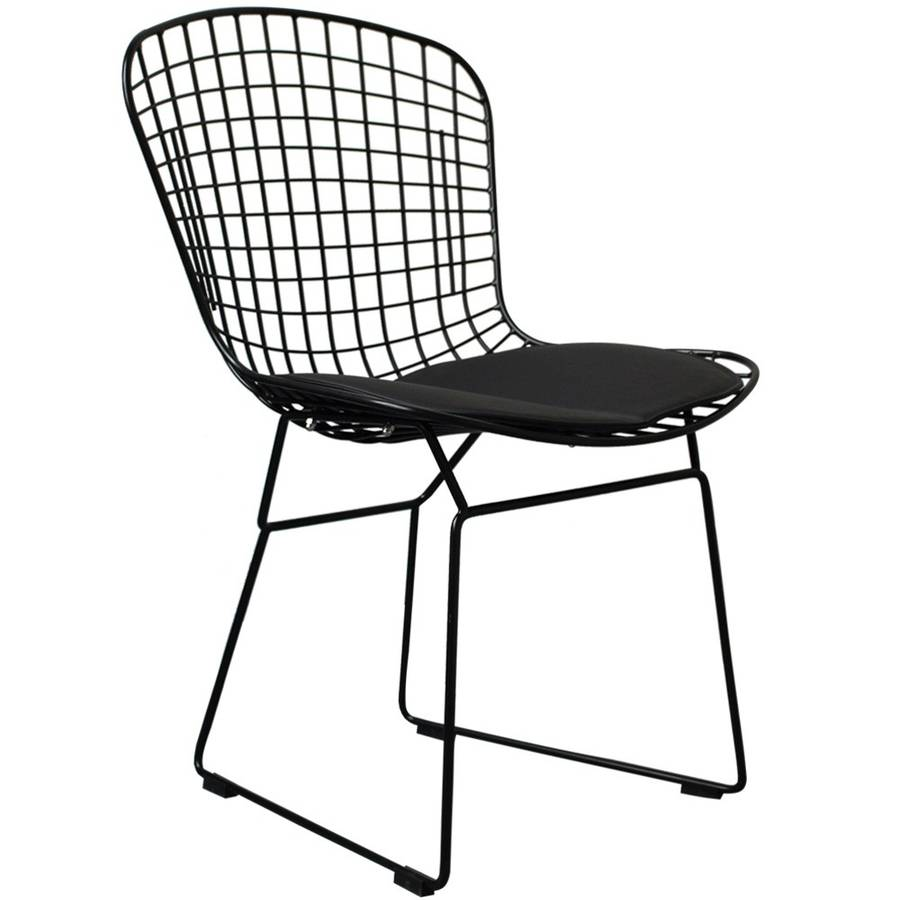 a black metal dining chair, also in silver or white by