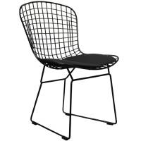 a black metal dining chair, also in silver or white by ...