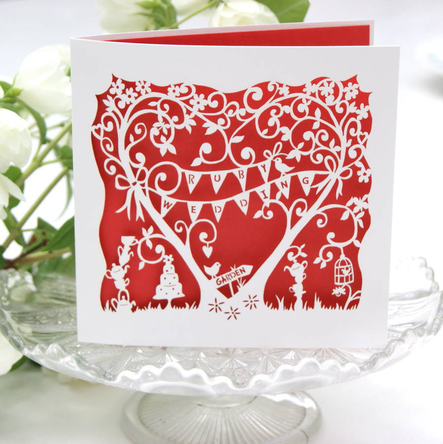 Ruby Wedding Anniversary Laser Cut Card By The Hummingbird
