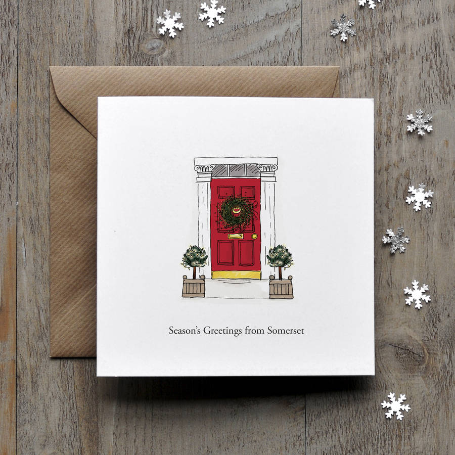 Town Red Door Personalised Christmas Card By Honey Tree