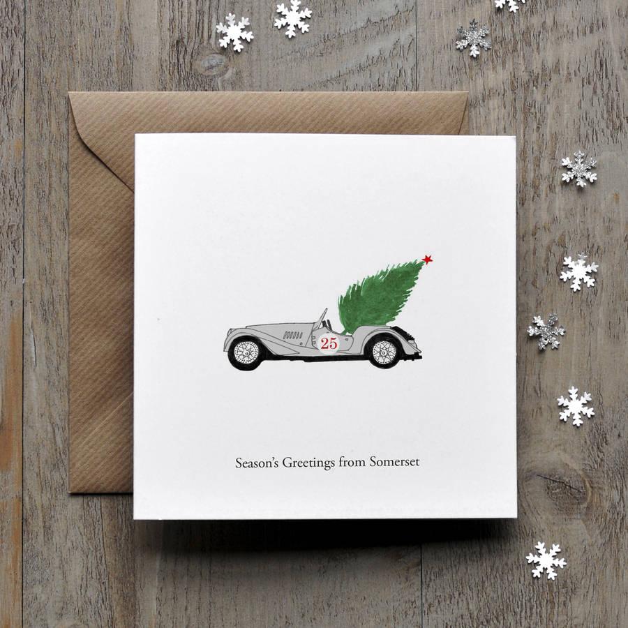 Morgan Vintage Car Personalised Christmas Card By Honey