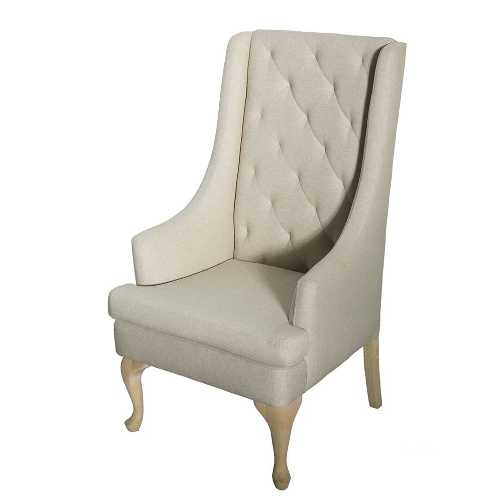 Wing Chair Oatmeal High Back Wing Chair