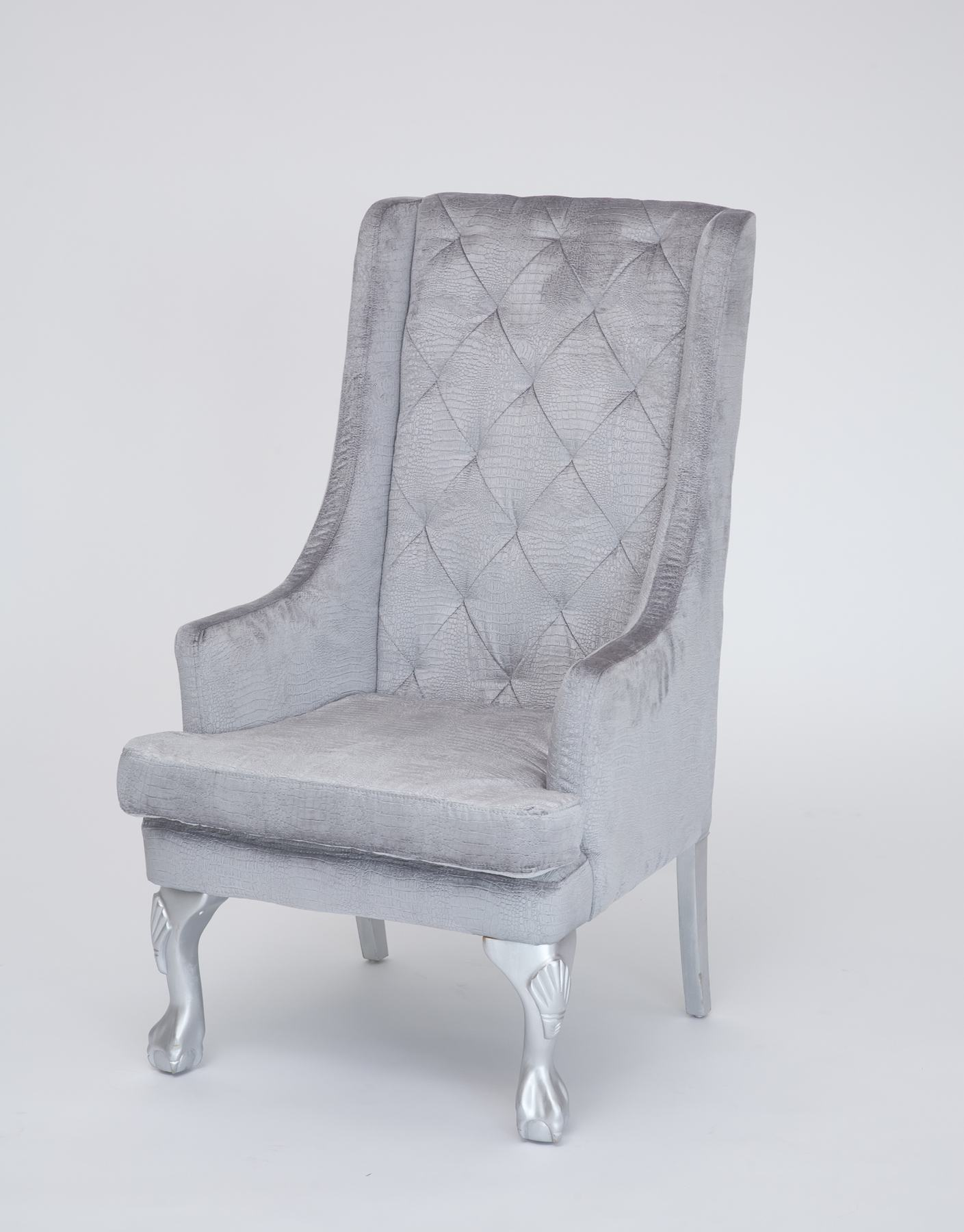 White Wing Chair Silver High Back Wing Chair