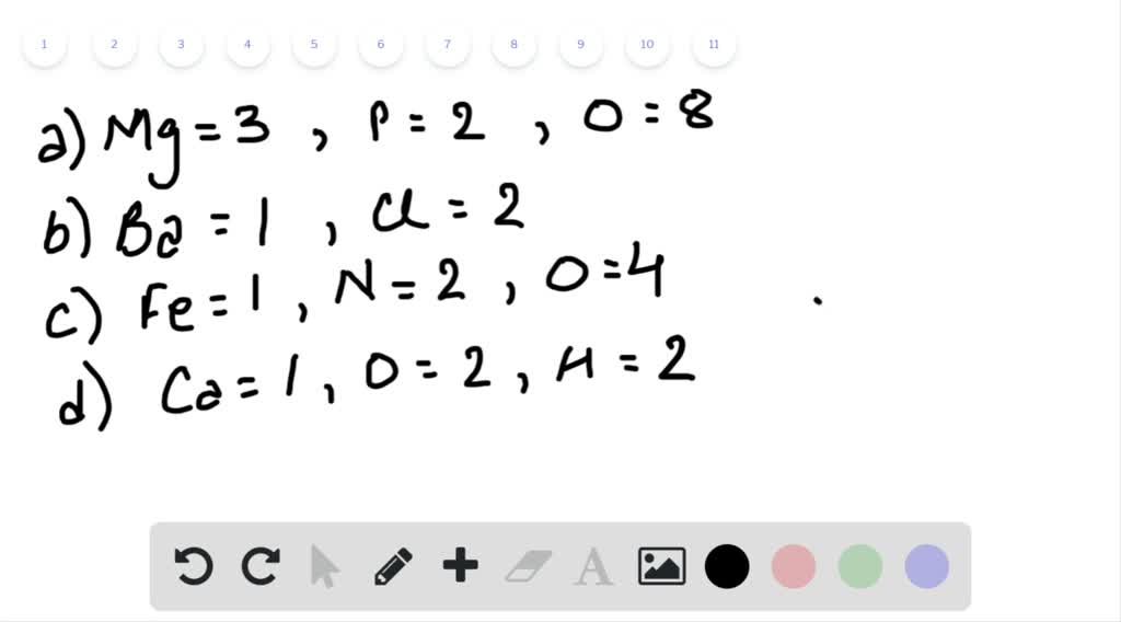 Determine the number of each type of atom in each…