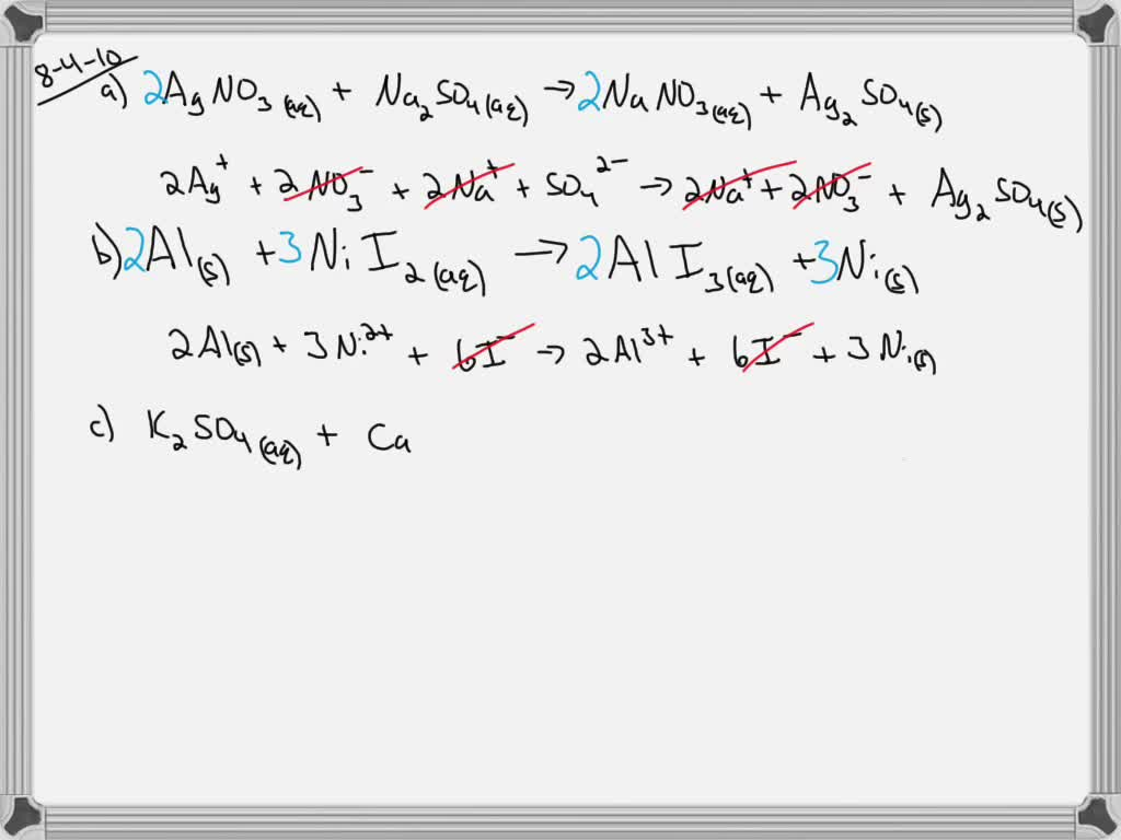 Solved Write A Total Ionic Equation For Each Of T