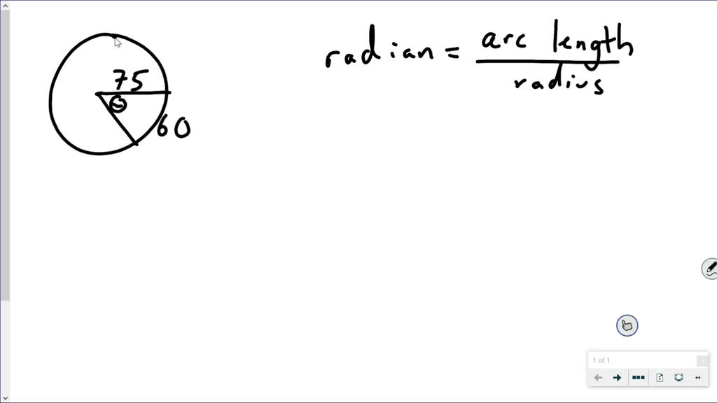 Use the given arc length and radius to find the a…