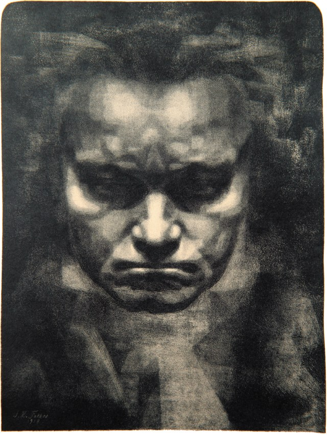 Head Of Beethoven Lithograph By Johannes Hendricus Fekkes 1918 From The