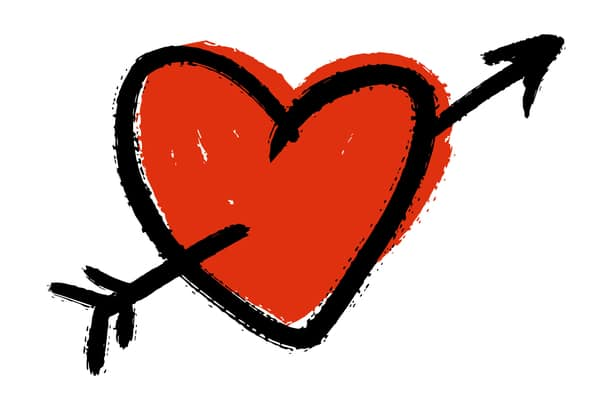 Cupid's use of arrows to piece the heart with love created arrow symbolism associated with love.