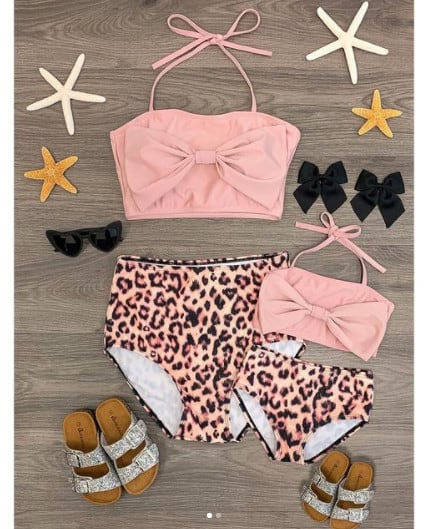 Sparkle In Pink Mom and Daughter Matching Animal Print Bikinis