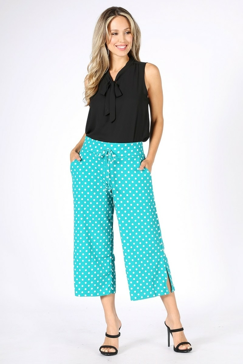 1155.Cropped high waist pants, relaxed fit, pockets, wide legs