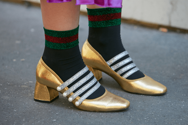 gucci socks with gold shoes