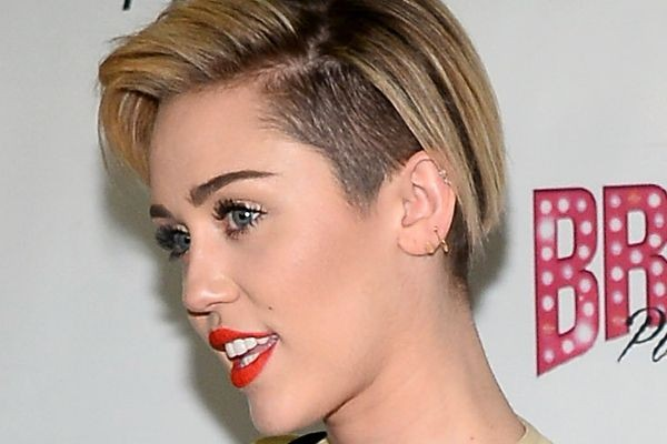 Miley Cyrus rocks an undrcut hairstyle.