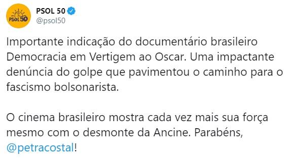 A linha auxiliar do PT o PSOL se rende a Hollywood