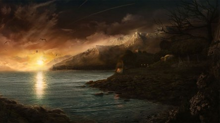 mountains fantasy ocean sunset town snowy houses landscapes birds hd wallpap wallpapers eberron phandelver mines lost 5e hi resolution architecture