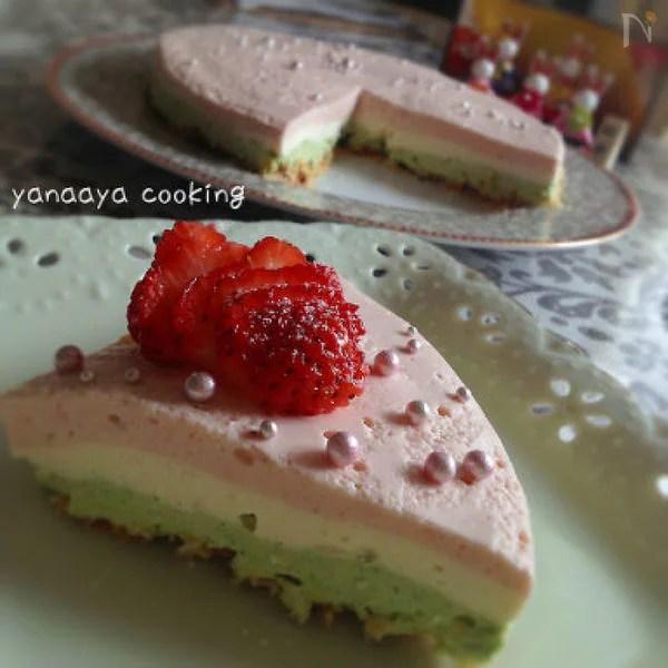 【大人用】ひな祭りデザート♬ふんわり3色レアチーズケーキ