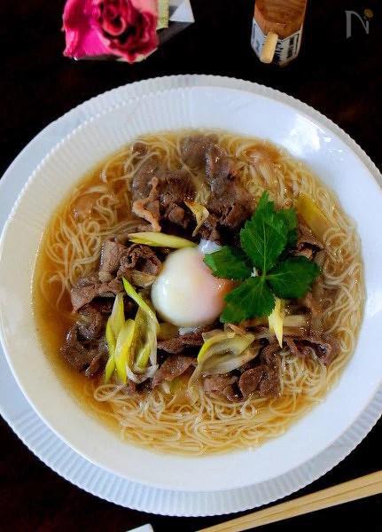 めんつゆで簡単牛肉にゅう麺